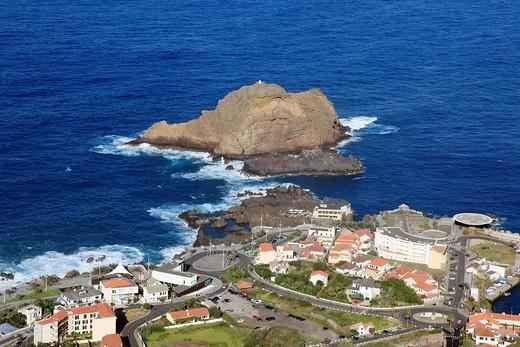 aerial view of the city Porto Moniz island of Madeira, Portugal, Europe. : Stock Photo