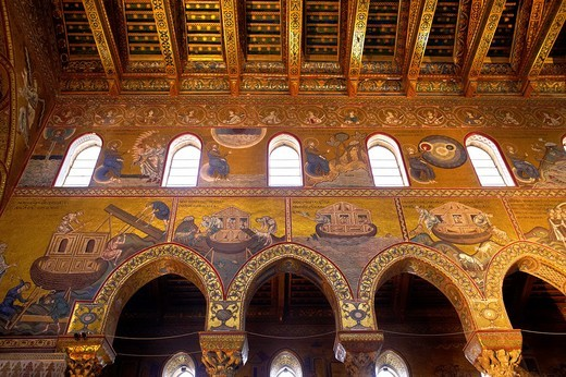 Byzantine mosaics depicting scenes from the Bible and the building of Noah´s Arc in the Cathedral of Monreale - Palermo - Sicily : Stock Photo