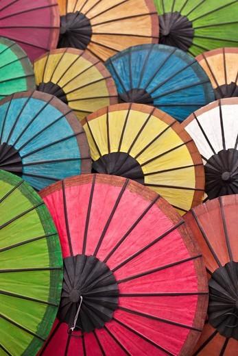 Multicoloured hand made paper umbrellas or parasols,Luang Prabang, Laos : Stock Photo