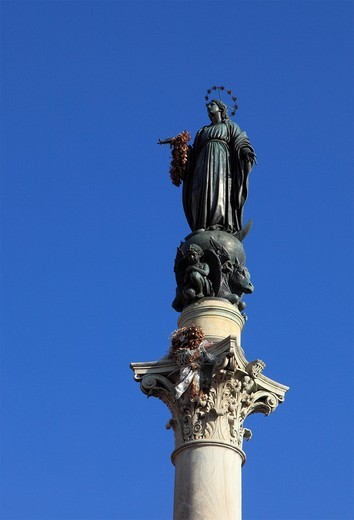 Italy, Lazio, Rome, Piazza di Spagna, Virgin Mary column, statue, : Stock Photo