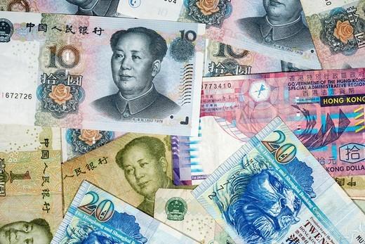 chinese renminbi rmb and hong kong dollar banknotes : Stock Photo