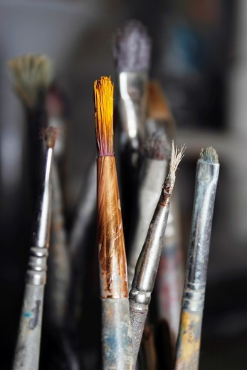 used paintbrushes : Stock Photo