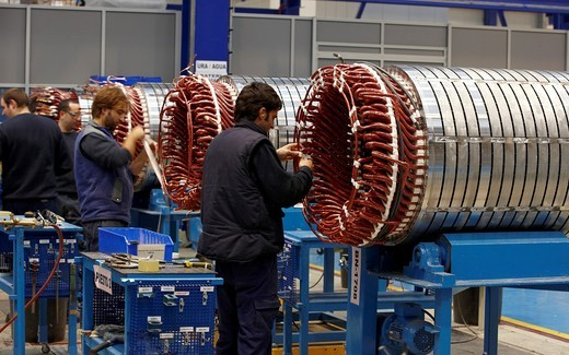 Wind turbine manufacturing, Gipuzkoa, Euskadi, Spain : Stock Photo