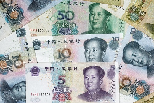 Stock Photo: 1566-958246 chinese renminbi rmb banknotes
