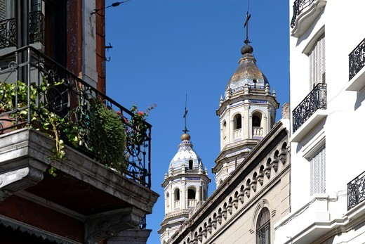 Twin towers of a church in San Telmo, seen from below, Buenos Aires, Argentina, South America : Stock Photo