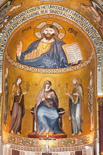 Stock Photo: 1566-958800 Jesus Christ mosaic in the apse, Cappella Palatina, Palazzo dei Normanni, Palermo, Sicily, Italy