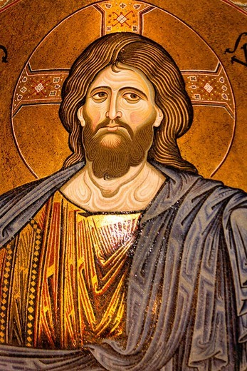 Stock Photo: 1566-958847 Jesus Christ mosaic in the apse, Monreale Cathedral, Monreale, near Palermo, Sicily, Italy