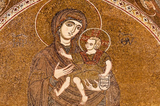 Mosaic of Mary and Jesus, inside Monreale Cathedral, Monreale, near Palermo, Sicily, Italy : Stock Photo