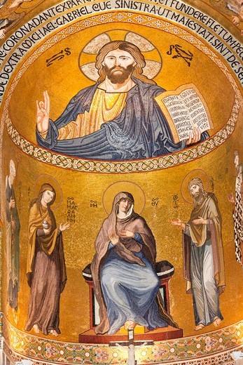 Stock Photo: 1566-958861 Jesus Christ mosaic in the apse, Cappella Palatina, Palazzo dei Normanni, Palermo, Sicily, Italy