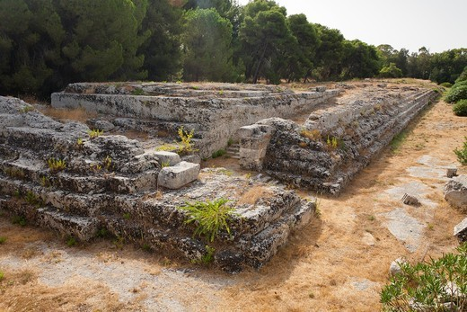 Altar of Hieron II, Neapolis Archaeological Park, Syracuse, Sicily, Italy : Stock Photo