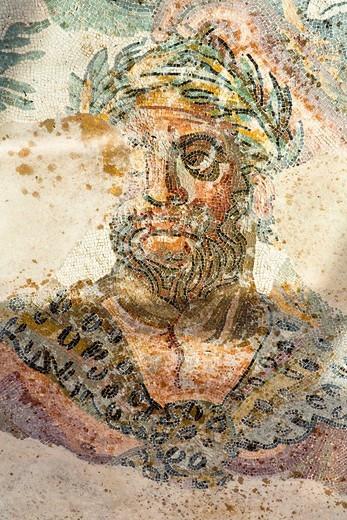Hercules, part of Labours of Hercules mosaic in Triclinium, dining room, Villa Romana del Casale, Piazza Armerina, Sicily, Italy : Stock Photo