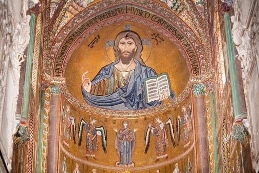 Byzantine mosaic of Christ on the ceiling of Cefalu Cathedral, Piazza Duomo, Cefalu, Sicily, Italy : Stock Photo