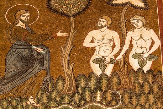 Stock Photo: 1566-959517 Mosaic of Adam and Eve, inside Monreale Cathedral, Monreale, near Palermo, Sicily, Italy