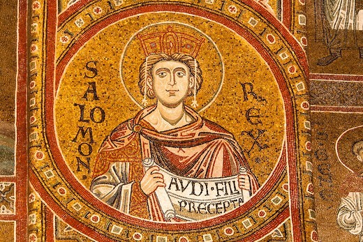 King Solomon mosaic inside Monreale Cathedral, Monreale, near Palermo, Sicily, Italy : Stock Photo