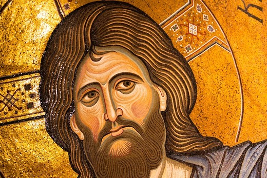 Stock Photo: 1566-959520 Jesus Christ mosaic in the apse, Monreale Cathedral, Monreale, near Palermo, Sicily, Italy