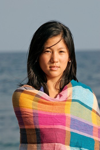 Cute young asian woman on the beach : Stock Photo