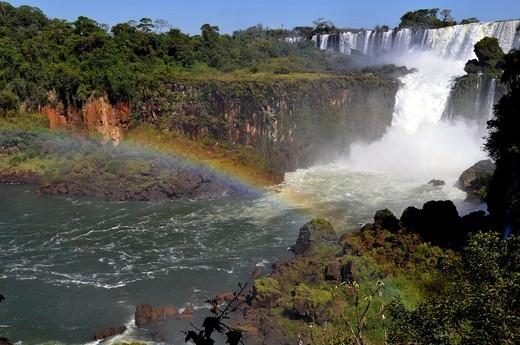 Salto San Martin and rainbow, Iguassu falls, Iguazu national park, Puerto Iguazu, Argentina : Stock Photo