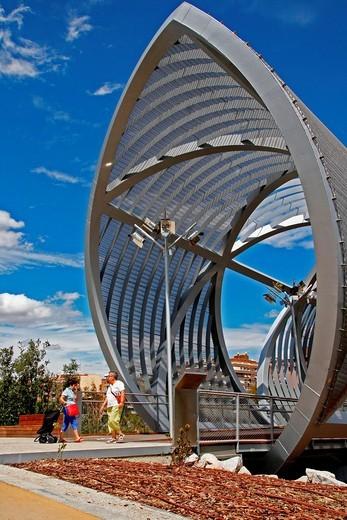 Stock Photo: 1566-959728 Arganzuela bridge, 2011, architect: Dominique Perrault, Madrid, Spain.