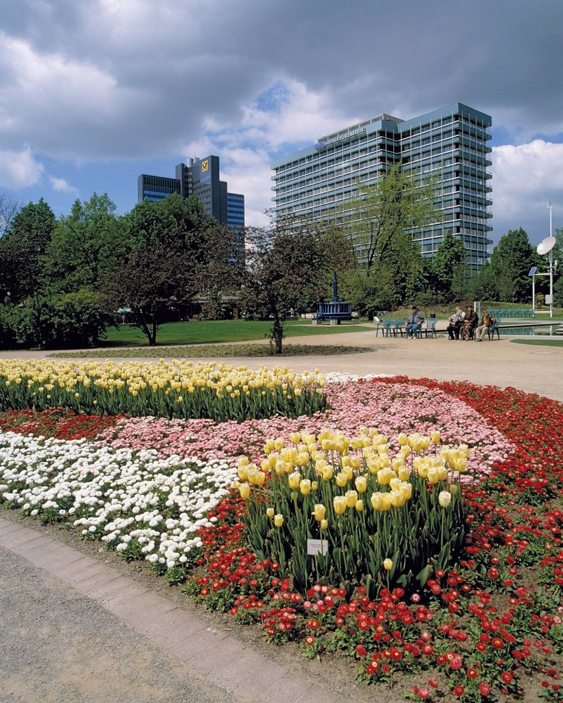Stock Photo: 1566-959816 D-Dortmund, Ruhr area, Westphalia, North Rhine-Westphalia, NRW, Westfalenpark, Westphalian Park, landscape gardens, Bundesgartenschau 1991, BUGA 1991, flower bed, blossom, administration building, Oberpostdirektion, German Federal Post, postal management. D-Dortmund, Ruhr area, Westphalia, North Rhine-Westphalia, NRW, Westfalenpark, Westphalian Park, landscape gardens, Bundesgartenschau 1991, BUGA 1991, flower bed, blossom, administration building, Oberpostdirektion, German Federal Post, postal