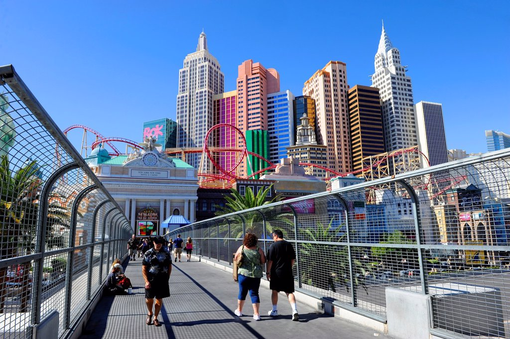 Stock Photo: 1566-959853 Tourists at New York New York Casino Skyline Las Vegas Nevada Sin City Gambling Capital NV