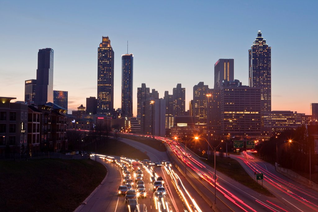 Stock Photo: 1566-960114 USA, Georgia, Atlanta City , Down Town Skyline