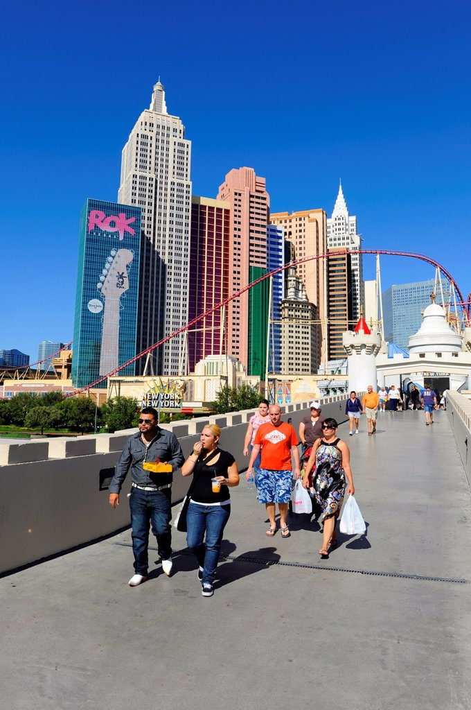 Stock Photo: 1566-960234 Tourists at New York New York Casino Skyline Las Vegas Nevada Sin City Gambling Capital NV