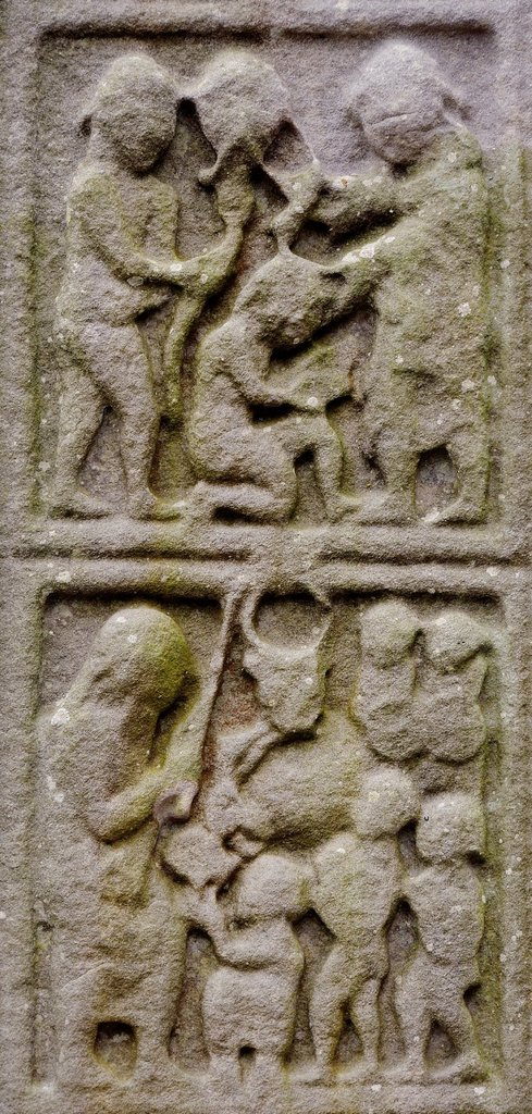 Stock Photo: 1566-960276 Ireland, County Louth, Monasterboice, West Cross, The sacrifice of Isaac and the Golden Calf
