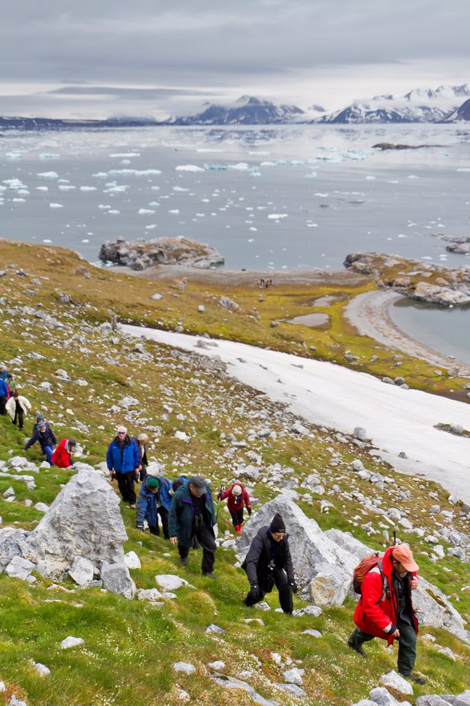 Guests from the Lindblad Expedition ship National Geographic Explorer at Hornsund Horn Sound in the Svalbard Archipelago, Norway : Stock Photo