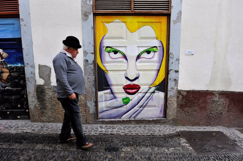 Stock Photo: 1566-961021 painted doors in the old town, Funchal, Madeira island, Atlantic Ocean, Portugal