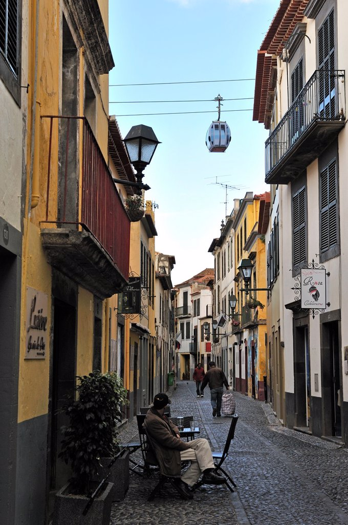 Stock Photo: 1566-961038 Santa Maria street in the old town, Funchal, Madeira island, Atlantic Ocean, Portugal