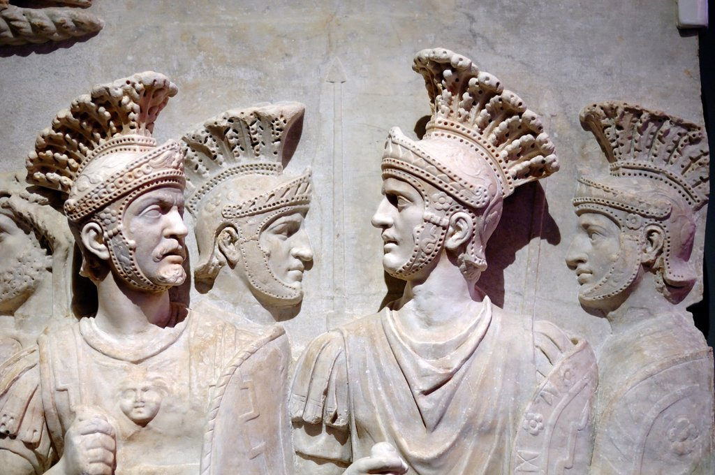 Stock Photo: 1566-961427 Roman Marble Relief of the Praetorian Guard from the Arch of Claudius c51-52AD, Rome Italy