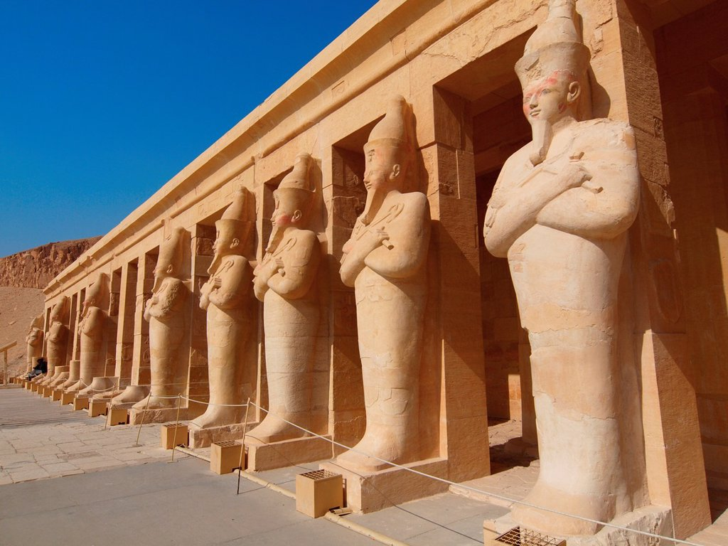 Stock Photo: 1566-961597 Osiris statues. Hatshepsut Temple. West Bank. Luxor old Thebas. Upper Egypt.