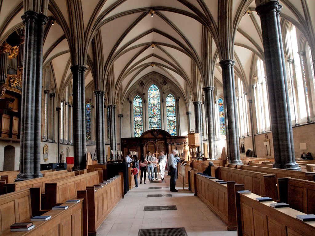 Stock Photo: 1566-961635 Interior of Temple Church, 12th century church built for the Knights Templar, Temple, London, England, UK.