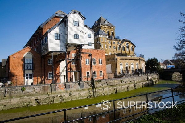 The Mill conversion development of hotel and apartments from industrial building, Colchester, Essex, England : Stock Photo