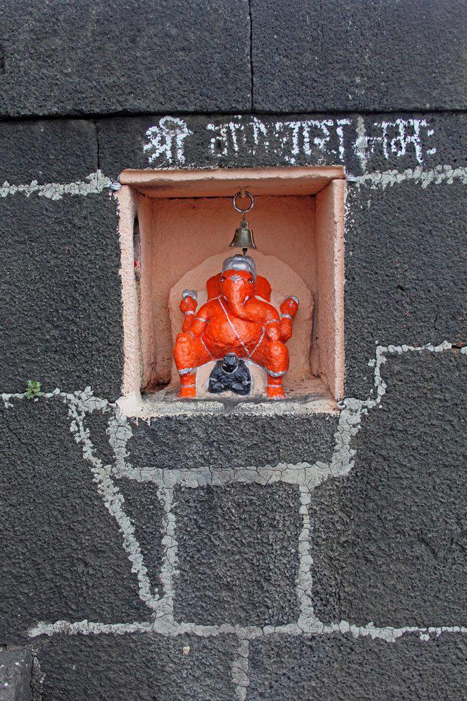 God gajanan at Someshwar Temple, Bhima river Ghat, Chas Kaman Rajgurunagar, Maharashtra, India : Stock Photo