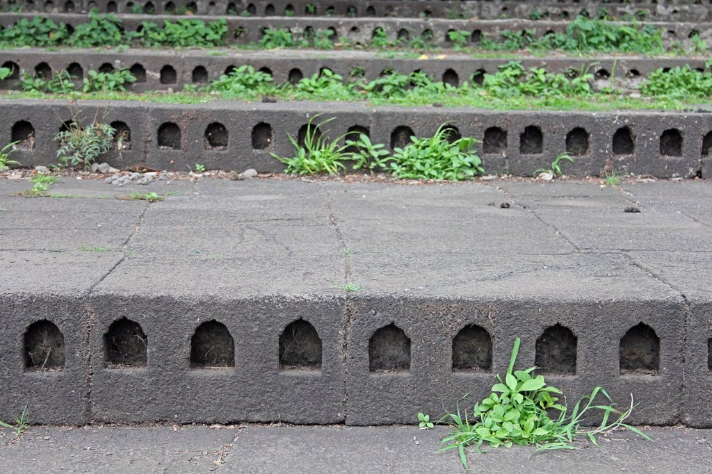 Stock Photo: 1566-962090 Places, Niches to keep Diyas Oil Lamps at Each Riser step of Bhima river Ghat, Chas Kaman Rajgurunagar, Maharashtra, India