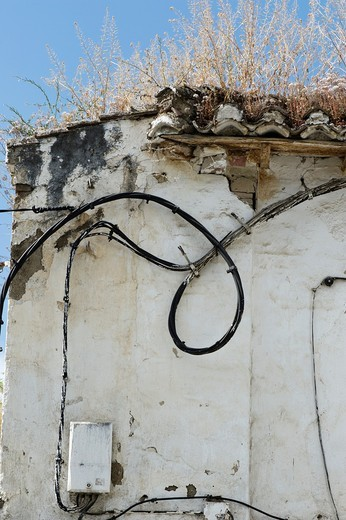 Stock Photo: 1566-962309 Detail view of a scruffy building with power cable on the outside wall, Sacromonte, Gypsy quarter of Granada, Andalusia, Spain, Europe