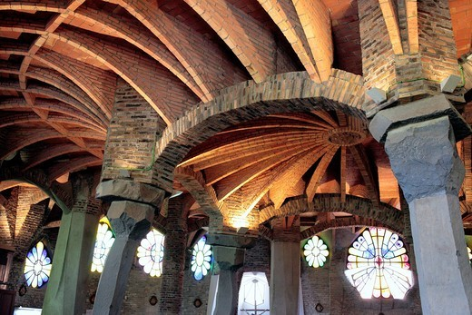 Crypt in Colonia Guell by Antoni Gaudi, Barcelona, Catalonia, Spain : Stock Photo