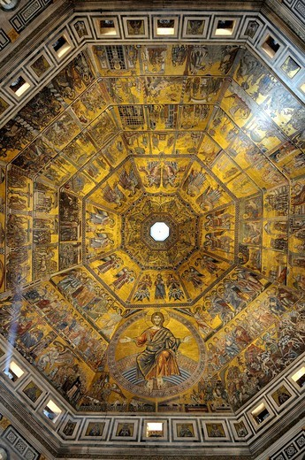 Stock Photo: 1566-962920 Florence Baptistery or Battistero di San Giovanni (Baptistery of St. John). Mosaic ceiling. Florence. Tuscany. Italy.