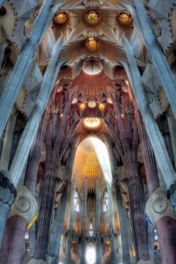 Stock Photo: 1566-963079 Interior of Basilica Sagrada Familia, Barcelona, Catalonia, Spain