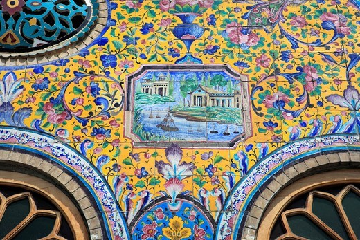 Ceramic tiles in Golestan palace, Teheran, Iran : Stock Photo