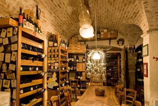 Italy, Veneto, Miane, Da Gigetto restaurant, wine cellar. : Stock Photo
