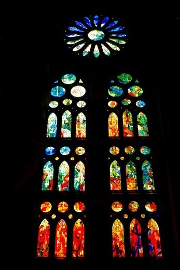 Stock Photo: 1566-965421 Stained glass windows  Sagrada Familia church, or Expiatory Church of the Holy Family, Barcelona, Catalonia, Spain