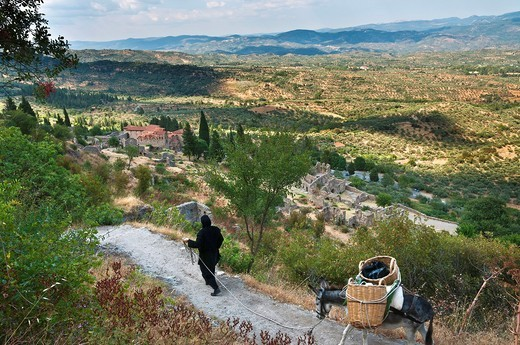 A nun from Pantanassa nunery leads a donkey down to the church of the Mitropolis to collect supplies  On the hill of Mystra, Lakonia, Peloponnese, Greece : Stock Photo