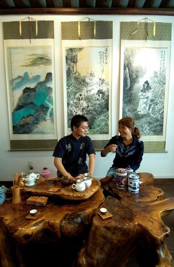 Tea tasting, Imperial tea farm, Guilin, China : Stock Photo