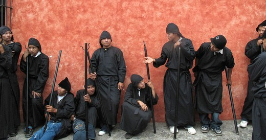 Stock Photo: 1566-966120 Several teens in costume wait for procession to begin