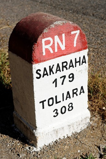 Milepost. Route Nationale 7. Region of Ihosy. Madagascar. Indian Ocean. : Stock Photo