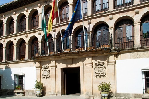 Municiple building decorated with flags, Ronda, Andalucia, Spain : Stock Photo