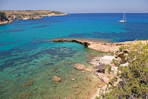 Stock Photo: 1566-966921 Ibiza, Cala Xarraca, beautiful paradise beach in Ibiza, Balearic Islands, Spain