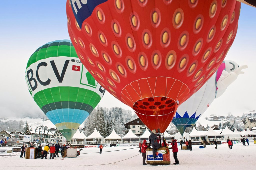 Balloons International Festival, Chateau d´Oex, Switzerland : Stock Photo